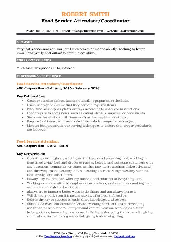 Food Service Attendant/Coordinator Resume Example