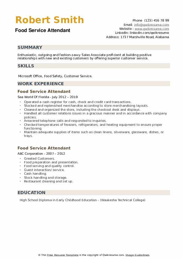 Food Service Attendant Resume example