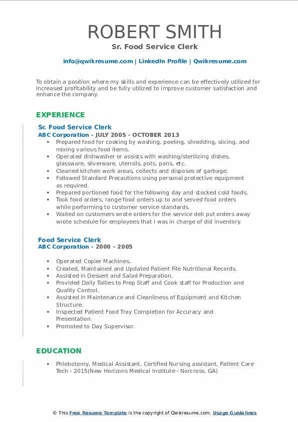 Sr. Food Service Clerk Resume Model
