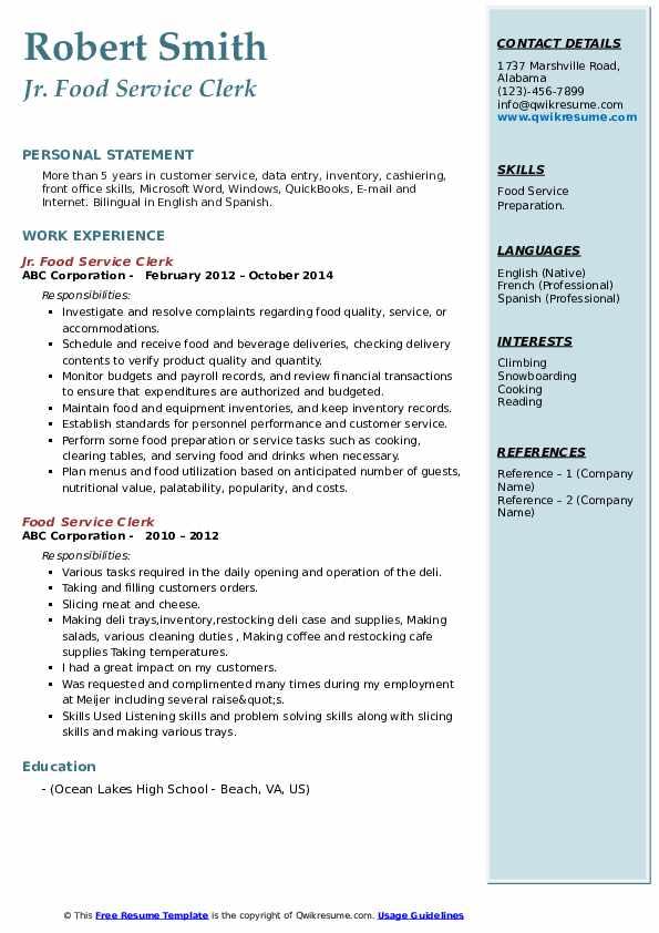 Jr. Food Service Clerk Resume Model