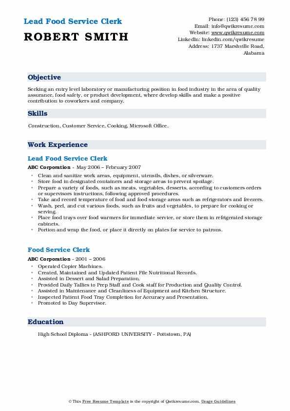 Lead Food Service Clerk Resume Example