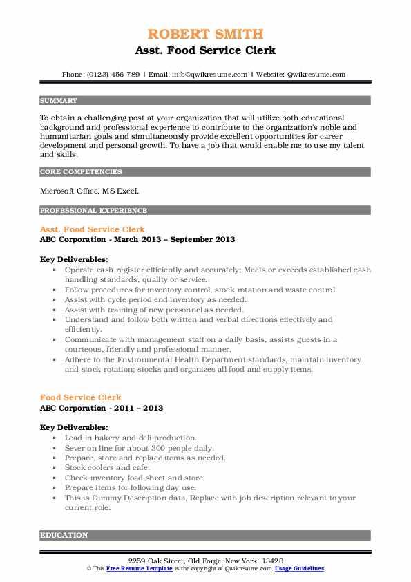 Asst. Food Service Clerk Resume Model