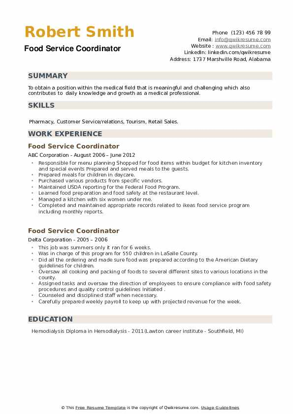 Food Service Coordinator Resume example