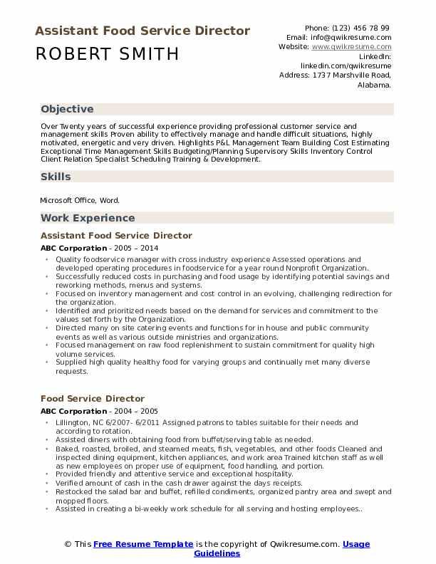 Assistant Food Service Director Resume Model