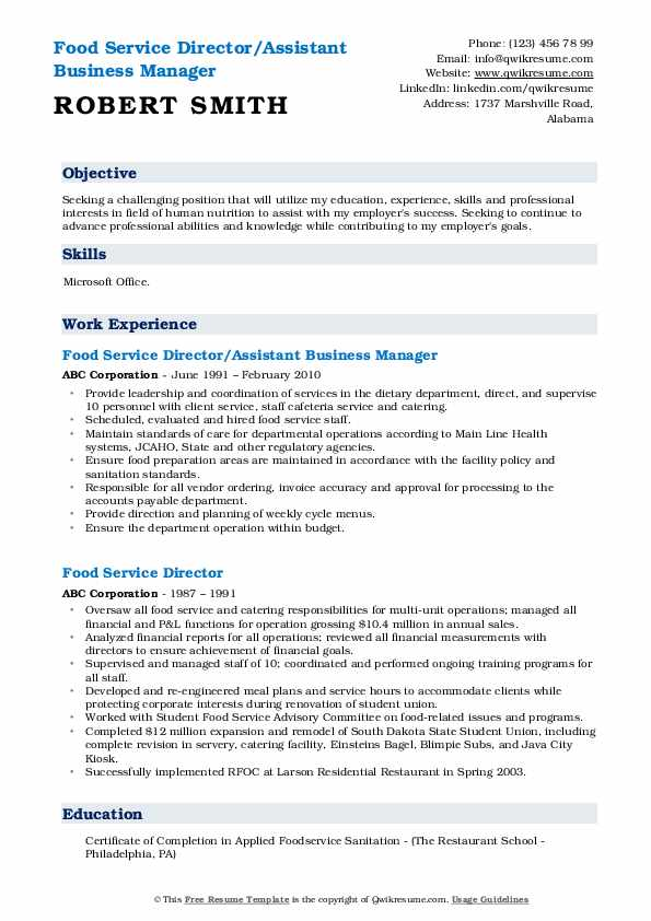 Food Service Director/Assistant Business Manager Resume Example
