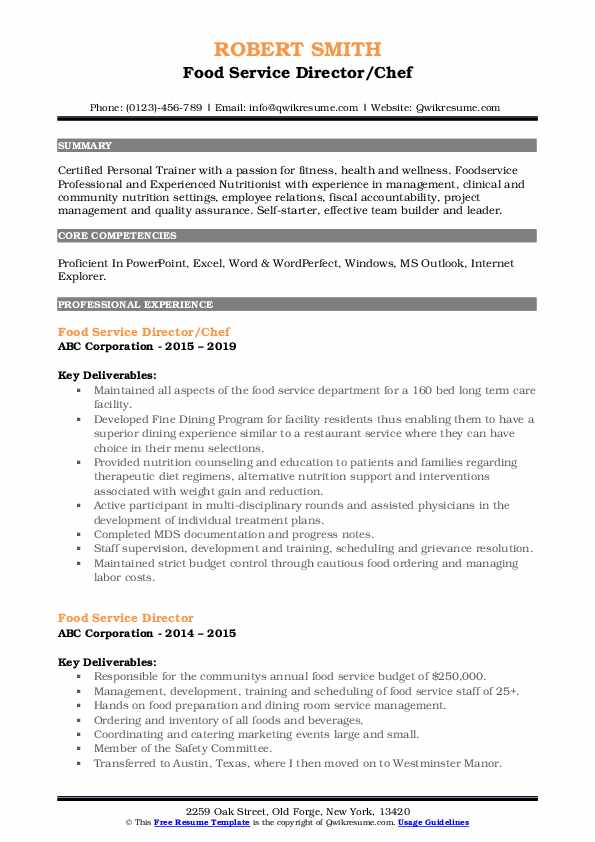 Food Service Director/Chef Resume Format