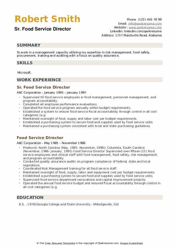 Sr. Food Service Director Resume Format
