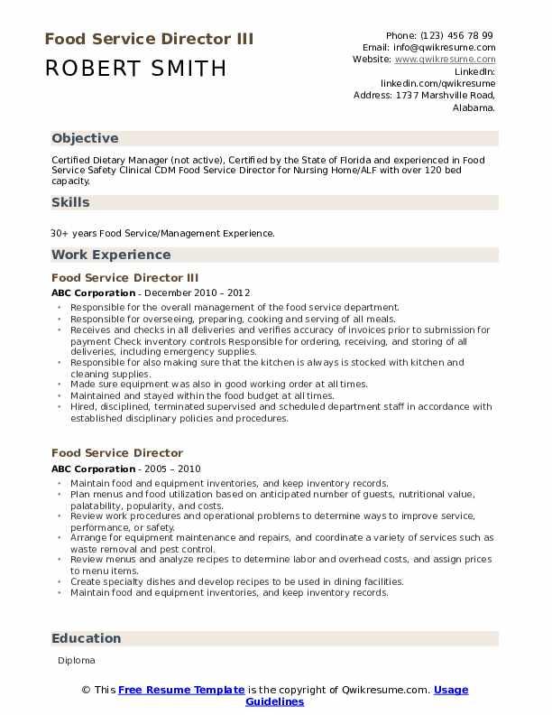 Food Service Director III Resume Model