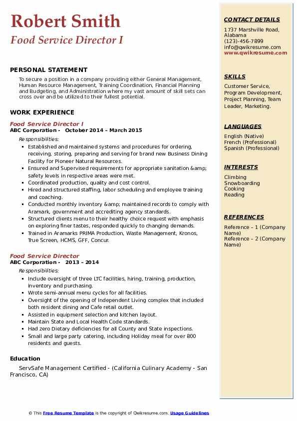 Chef Manager/Chef Supervisor Resume Sample