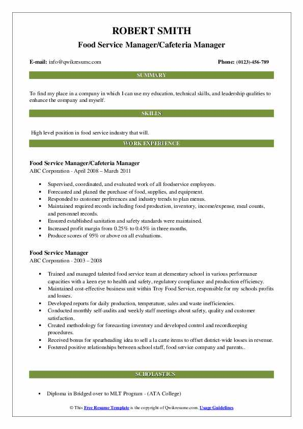Food Service Manager/Cafeteria Manager Resume Example