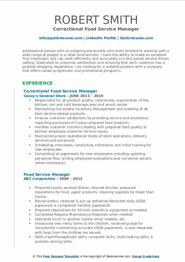 Correctional Food Service Manager Resume Sample