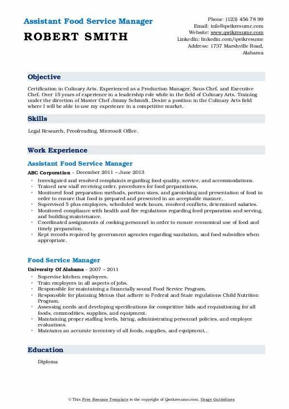 Assistant Food Service Manager Resume Model