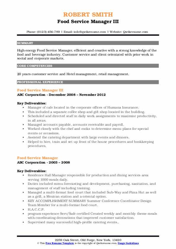 Food Service Manager III Resume Format