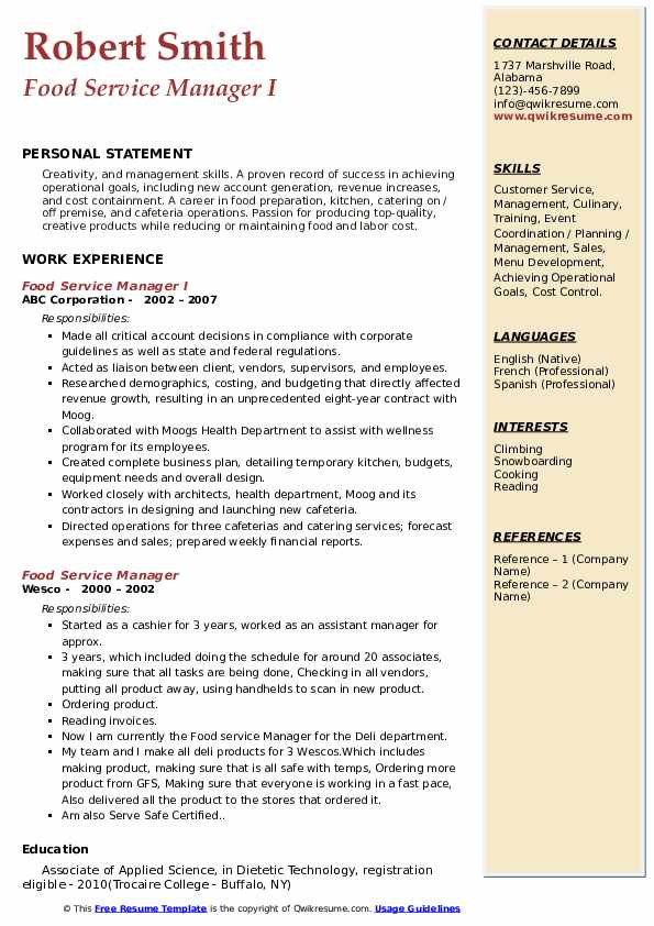 Food Service Manager I Resume Template