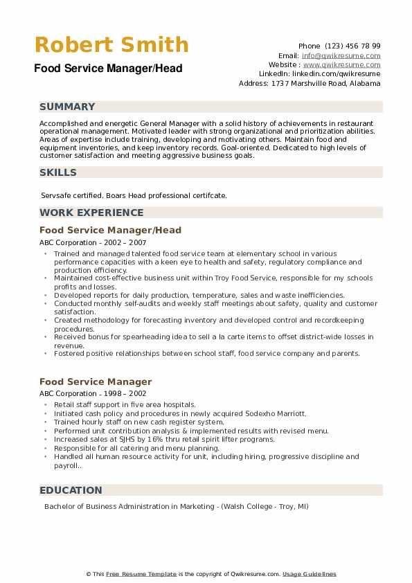 Food Service Manager/Head Resume Example