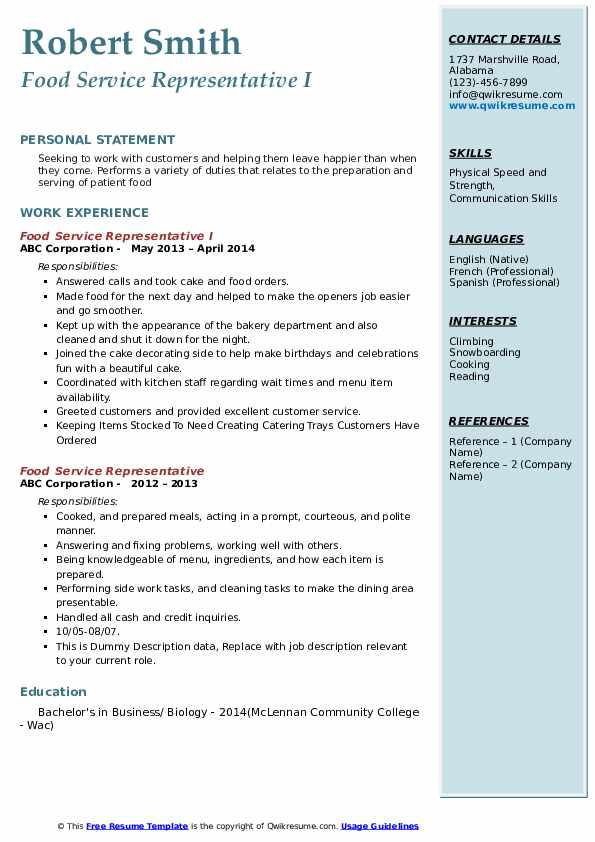 Food Service Representative Resume Samples | QwikResume