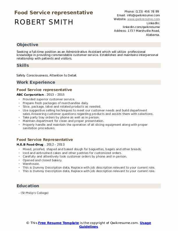 Food Service Representative Resume example