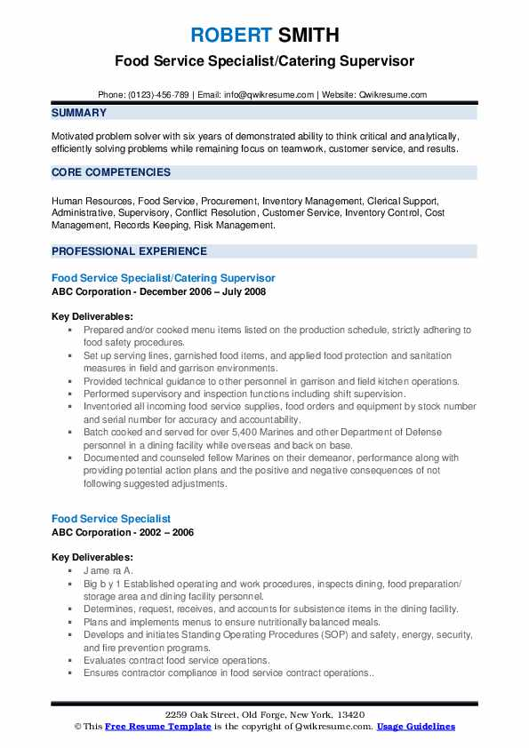 Food Service Specialist/Catering Supervisor Resume Model