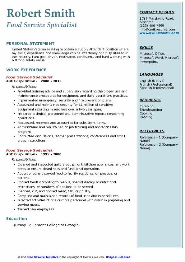 Food Service Specialist Resume Format