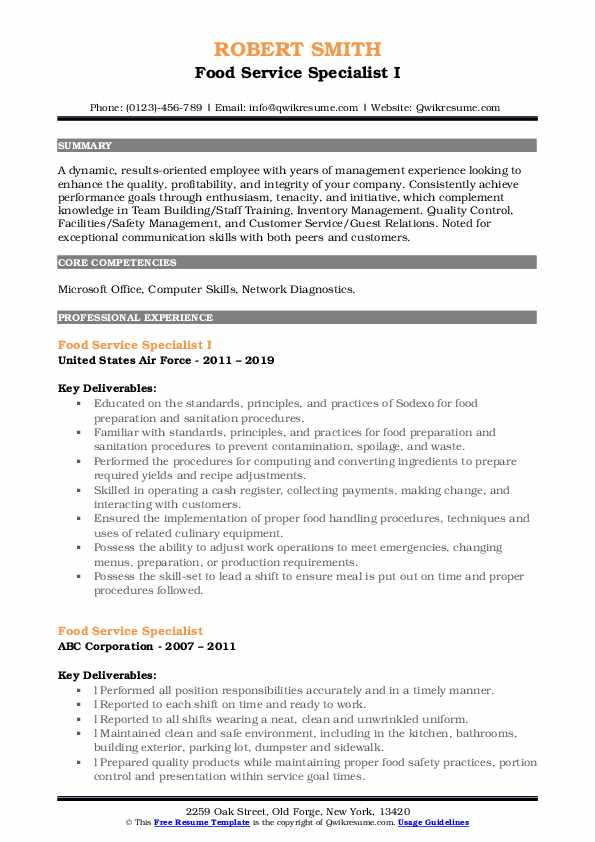 Food Service Specialist I Resume Template