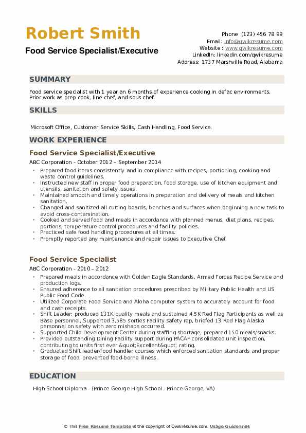 food service specialist resume samples  qwikresume