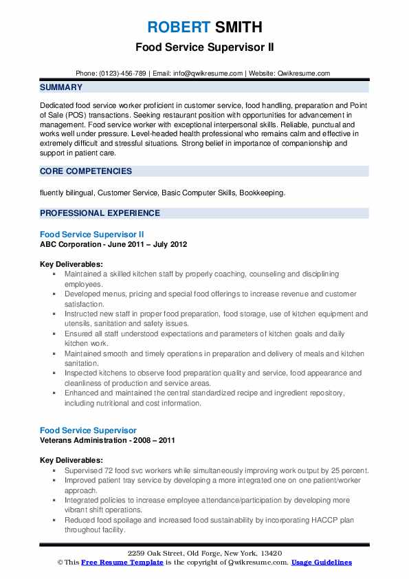 Food Service Supervisor Resume Samples | QwikResume