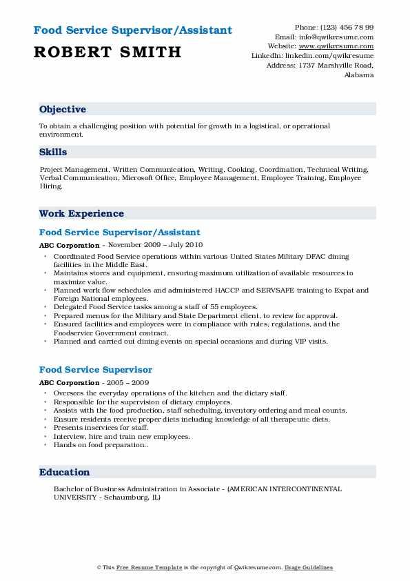 Food Service Supervisor/Assistant Resume Sample