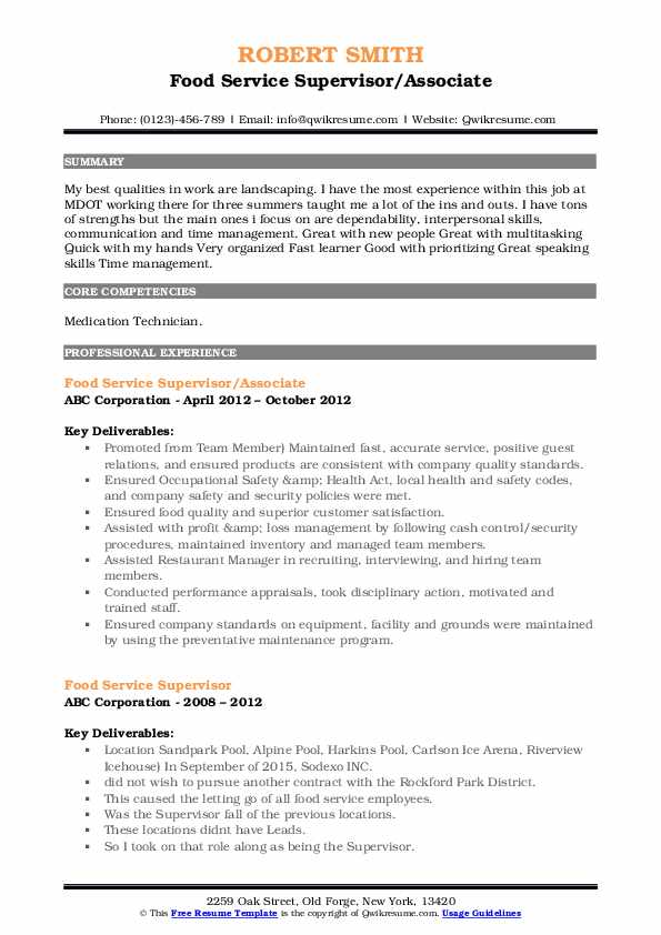 Food Service Supervisor Resume Samples Qwikresume