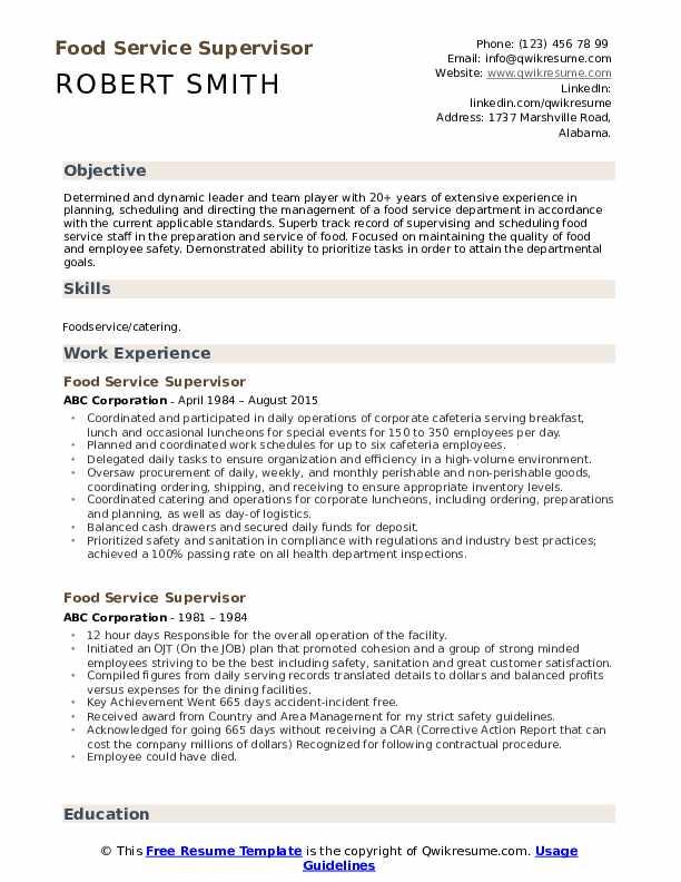 Food Service Supervisor Resume Format