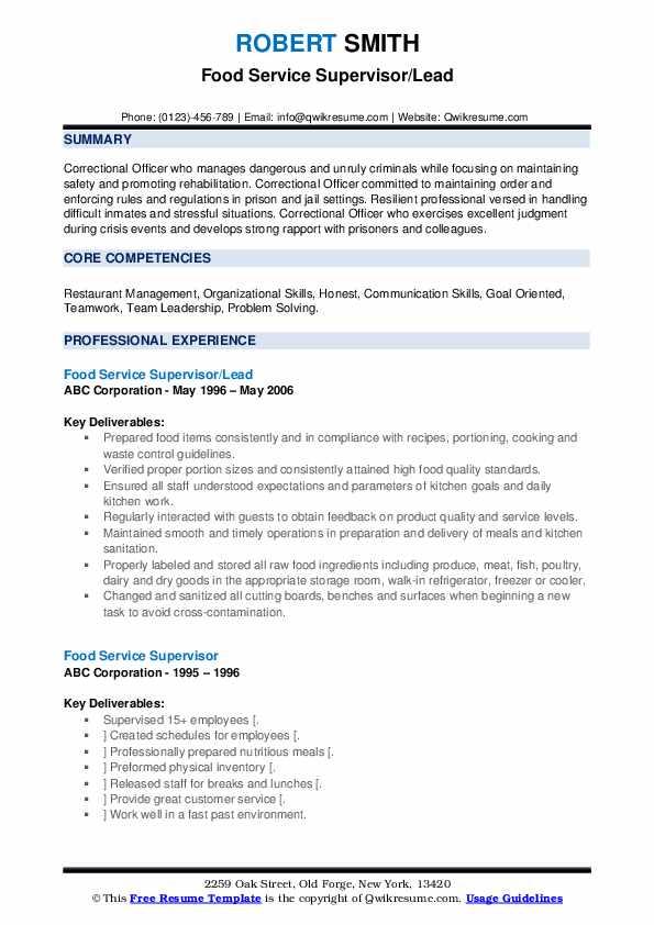 Food Service Supervisor/Lead Resume Model