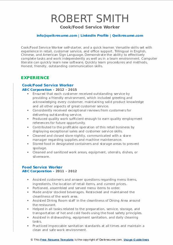 Cook/Food Service Worker Resume Model