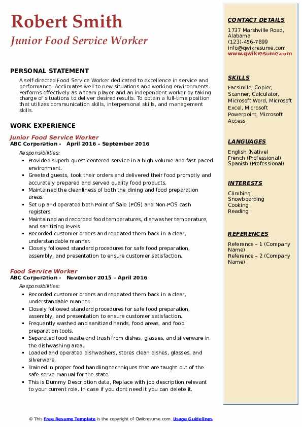 Junior Food Service Worker Resume Template