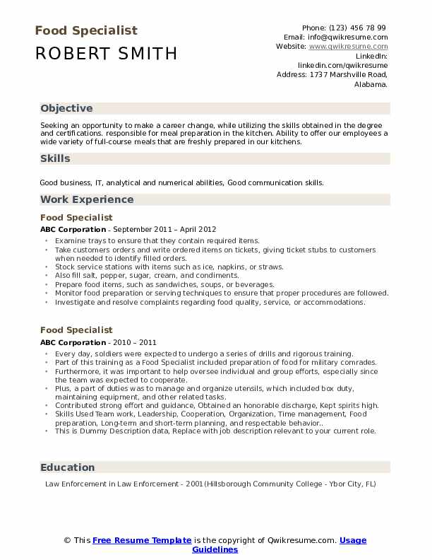 Food Specialist Resume example