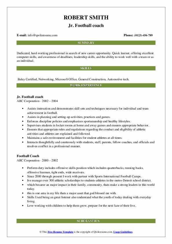 Jr. Football coach Resume Model
