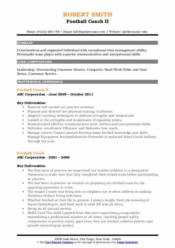 Football Coach II Resume Format