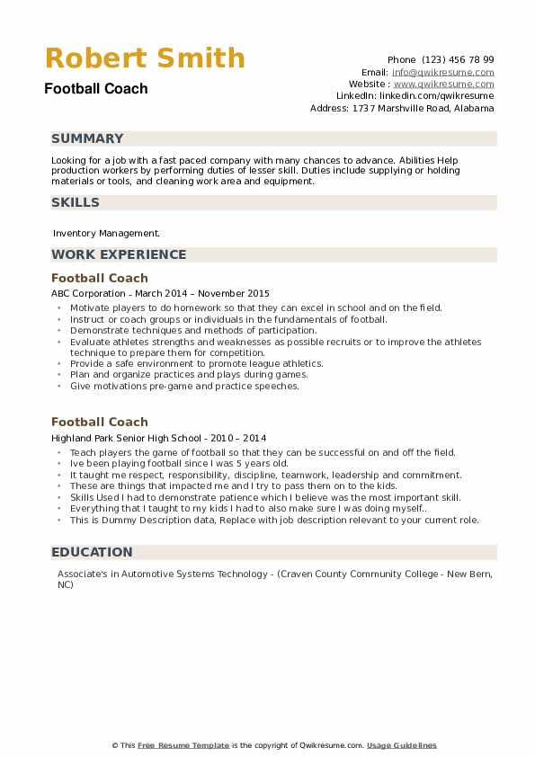 Football Coach Resume Samples Qwikresume