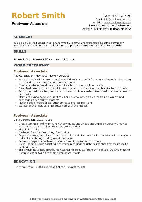 Footwear Associate Resume example
