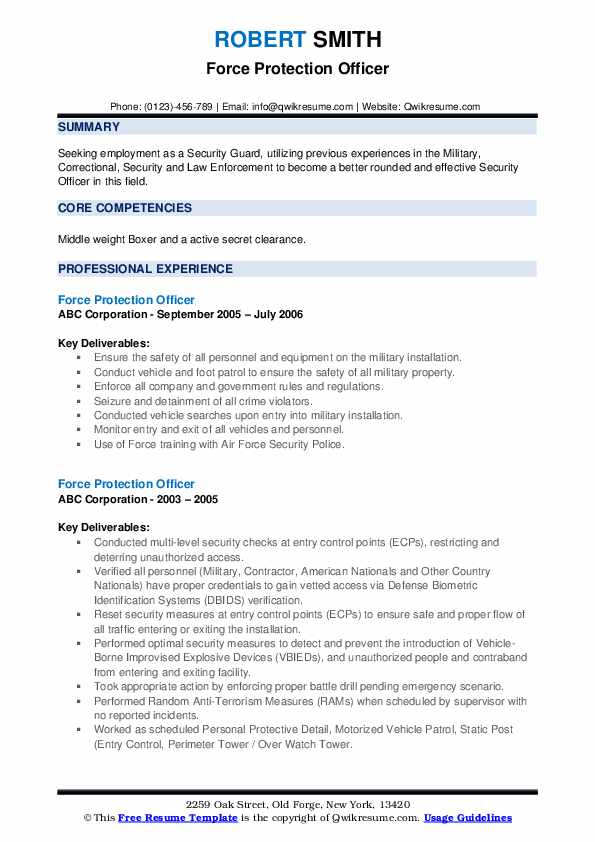 Force Protection Officer Resume example