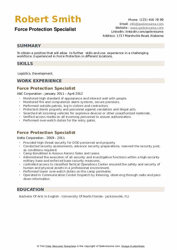 Force Protection Specialist Resume example