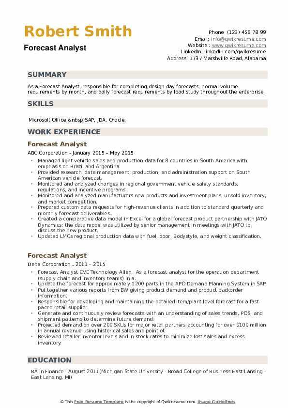 Forecast Analyst Resume example