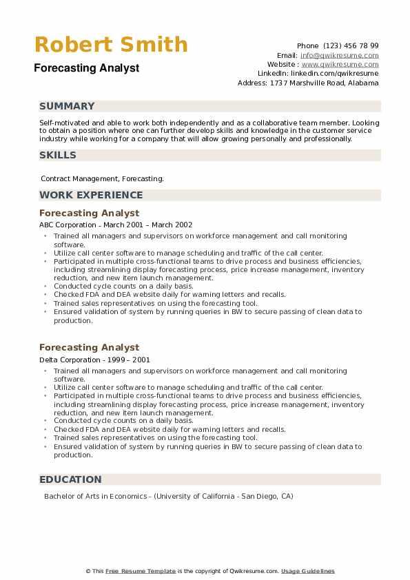 Forecasting Analyst Resume example