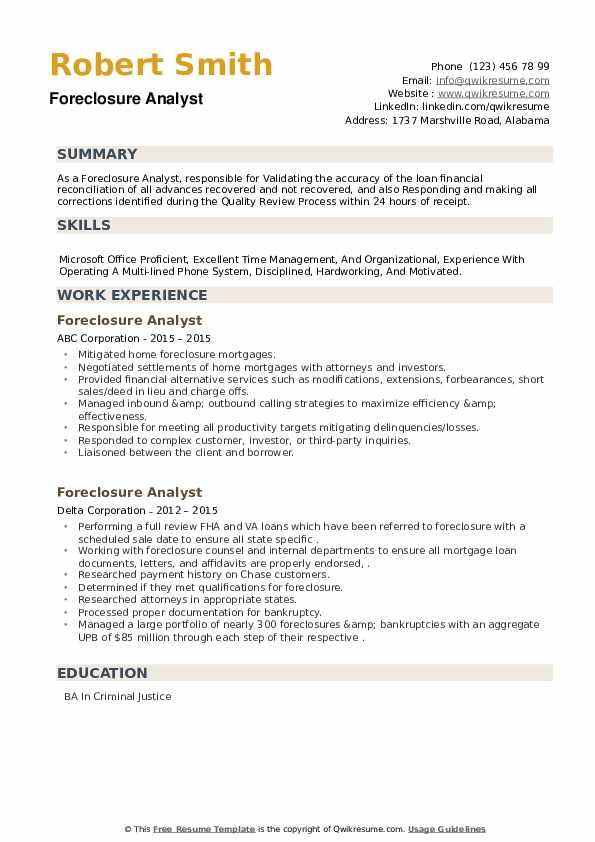 Foreclosure Analyst Resume example