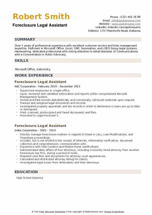 Foreclosure Legal Assistant Resume example