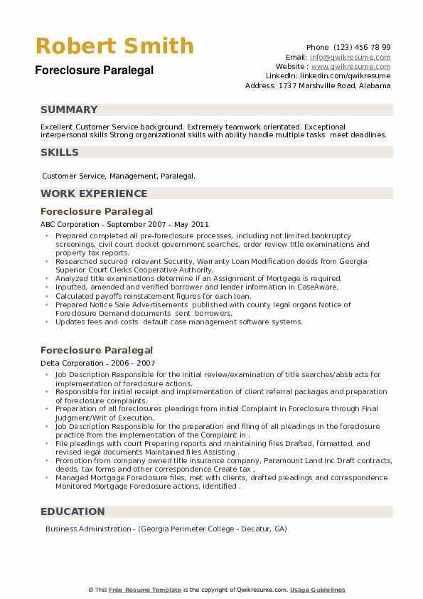 Foreclosure Paralegal Resume example