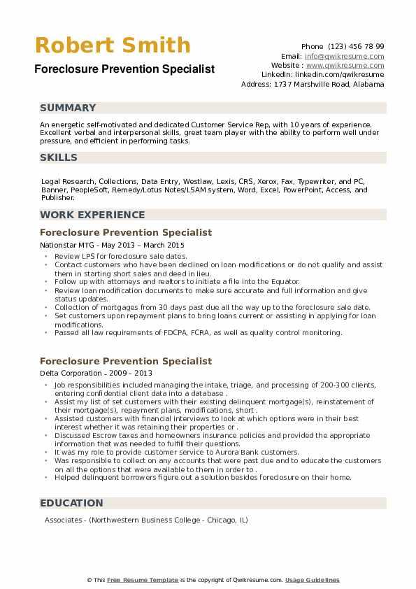 Foreclosure Prevention Specialist Resume example
