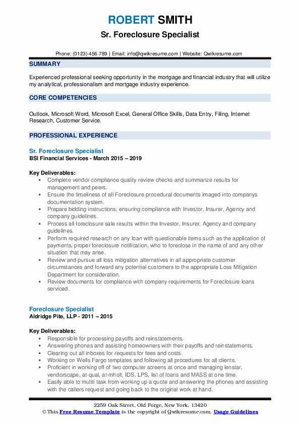 Sr. Foreclosure Specialist Resume Sample