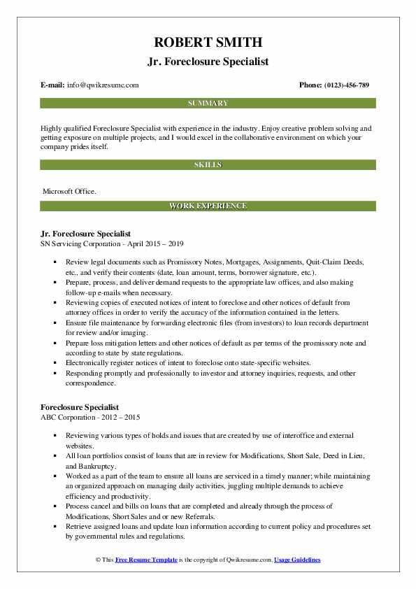 Jr. Foreclosure Specialist Resume Model