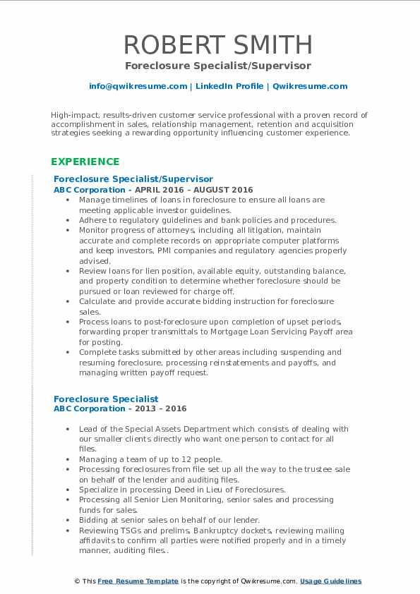 Foreclosure Specialist/Supervisor Resume Model