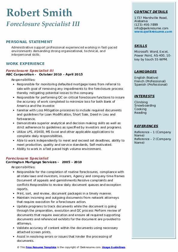Foreclosure Specialist III Resume Model