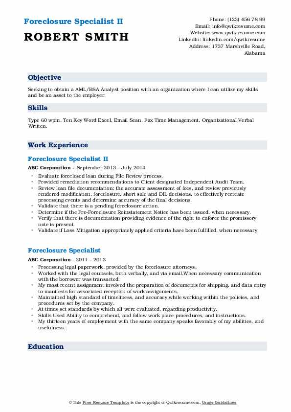 Foreclosure Specialist II Resume Sample